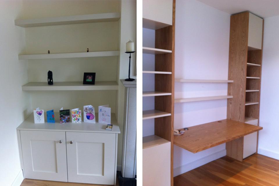 Living Room_Built In Shelving_Home Office Desk